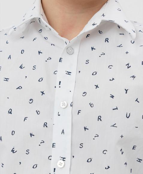 Белая рубашка с принтом Button Blue