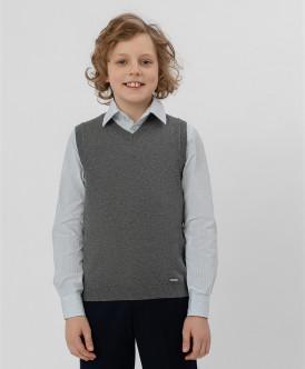 жилет button blue для мальчика, серый