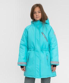 пальто button blue для девочки, голубое