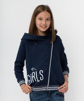 толстовка button blue для девочки, синяя