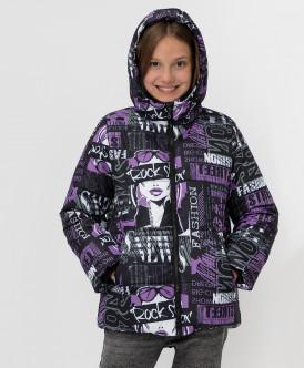 Купить 220BBGJC41040820, Черная зимняя куртка с принтом Button Blue, черный, 152, Девочки