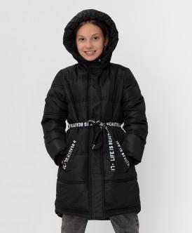 Черное зимнее пальто с поясом
