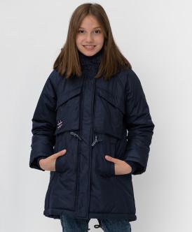 пальто button blue для девочки, синее
