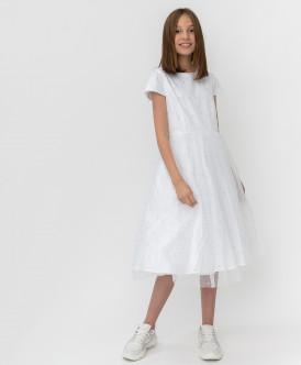 Белое платье с сеткой Button Blue