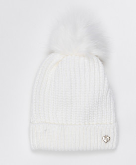 Белая шапка с помпоном Button Blue