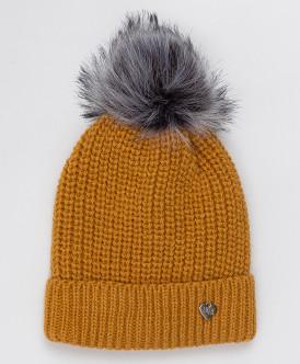 Желтая шапка с помпоном Button Blue
