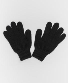 Черные вязаные перчатки