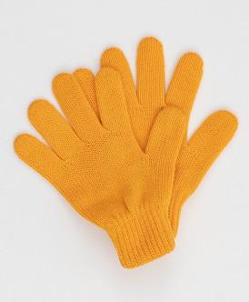 Желтые вязаные перчатки