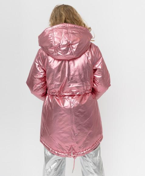 Розовое демисезонное пальто