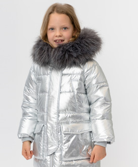 Серое зимнее пальто Button Blue