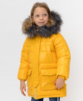 пальто button blue для девочки, желтое