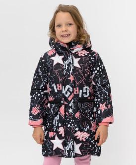 Черное зимнее пальто с принтом