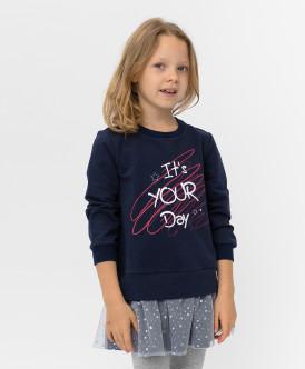 Купить 220BBGMC50011000, Синее платье с принтом Button Blue, синий, 122, Девочки