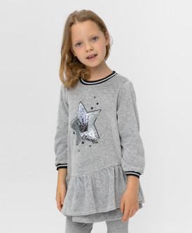 Купить 220BBGMC50030600, Серое платье с пайетками Button Blue, серый, 98, Девочки