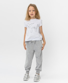Купить 220BBGMC56030600, Серые велюровые брюки Button Blue, серый, 98, Девочки