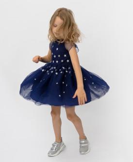 Синее платье с сеткой Button Blue
