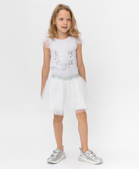 Белая юбка с сеткой Button Blue