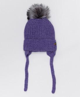 Сиреневая шапка с завязками Button Blue