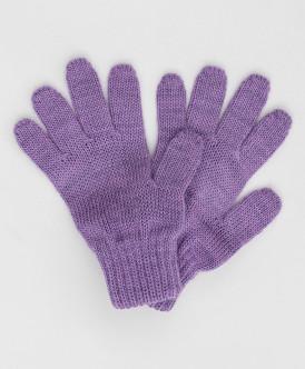 Сиреневые вязаные перчатки