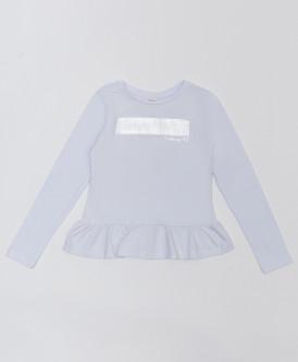 Белая футболка с баской и глиттерным принтом Button Blue