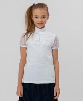 Белая блузка с кружевом Button Blue