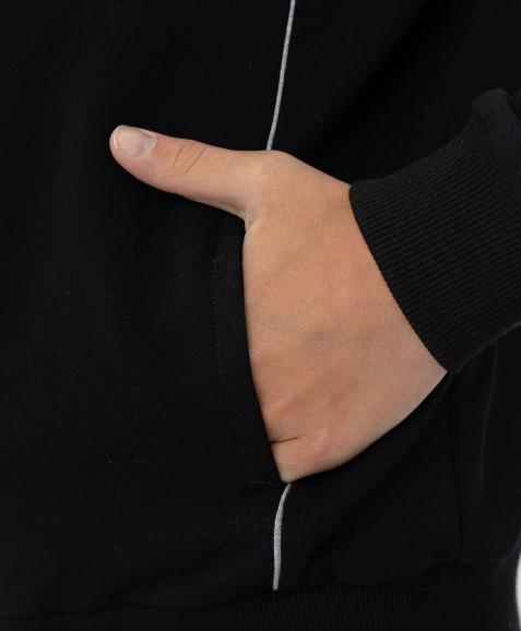 Черная толстовка с капюшоном Button Blue