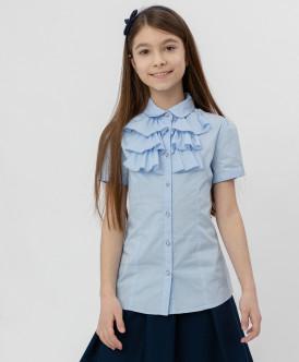 Голубая блузка с жабо Button Blue