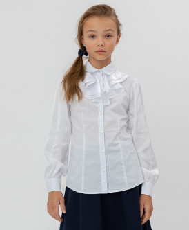 Белая блузка с шифоновым жабо Button Blue