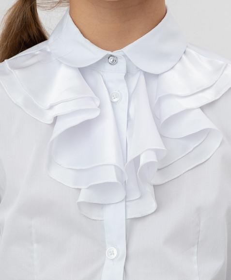 Белая блузка с шифоновым жабо