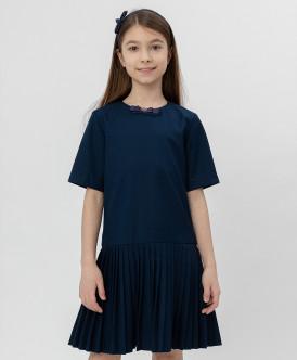 Купить 220BBGS25021000, Синее платье с коротким рукавом Button Blue, синий, 134, Девочки