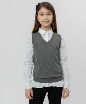 жилет button blue для девочки, серый