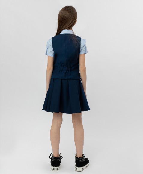 Синий классический жилет Button Blue