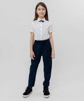 Купить 220BBGS63031000, Синие брюки на шнурке Button Blue, синий, 152, Девочки