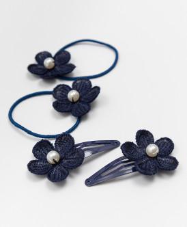 Набор резинок и заколок для волос, 4 шт. Button Blue