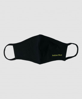 Черная многоразовая защитная маска Button Blue
